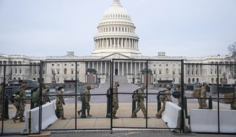 Members of the National Guard securing the US Capitol building in Washington, DC.