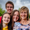 Retired but returning: Former critical care nurse, Debbie Andrews, with her children Steph 21, Tara 19, Braden 17 and Tess 12 at home in Canterbury.