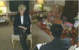 Princess Diana during her hour-long interview with Martin Bashir on BBC's 'Panorama' in 1995.