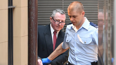 Terry Hickson is escorted to a prison van after being found guilty on Thursday.