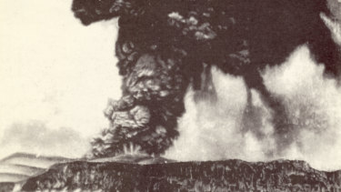 This volcano on the Indonesian island of Krakatau explodes on August 27, 1883. This was the largest explosion of its kind in historic times.