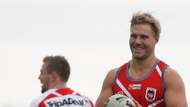 No game time: De Belin trains with the Dragons at WIN Stadium.