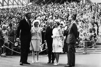 Queen Elizabeth II, Duke of Edinburgh, Sir Roden Cutler and Lady Cutler and Sir Robert Askin and Lady Askin at the Opening of the Sydney Opera House on October 20, 1973.