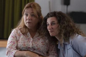 """Nightmare boss"" Linda, played by Mandy McElhinney, and Felicity Ward in Wakefield."