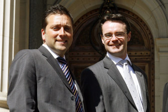 All smiles in 2006 when Matthew Guy and Michael O'Brien were first elevated to the Liberal frontbench.