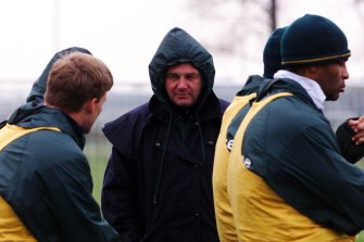 Rod MacQueen talking with Tom Bowman  (left) during scrum training at Cardiff.