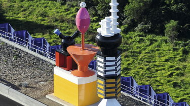 Fifteen plastic objects form the 'retro-futuristic' space station, on Peninsula Link.