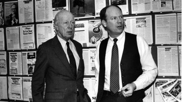 Knight Kiplinger (right) with his father Austin in 1987.
