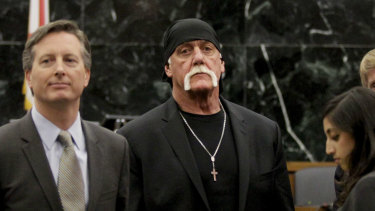 Hulk Hogan, whose given name is Terry Bollea, centre, looks on in court in 2016 moments after a jury returned its decision. Hogan sued Gawker for invasion of privacy and, bankrolled by tech billionaire Peter Thiel, won a $US140 million judgment that led to Gawker's bankruptcy filing.