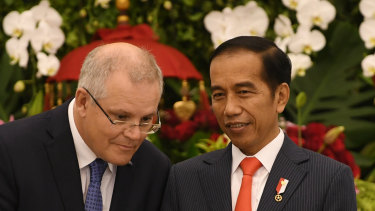 Australian Prime Minister Scott Morrison and Indonesian President Joko Widodo at their deal signing ceremony on Friday.