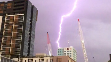 Lightning over Melbourne CBD