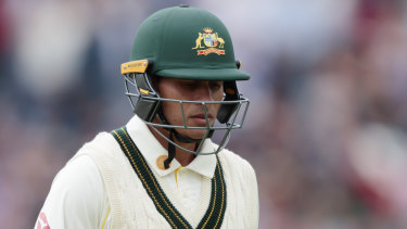Usman Khawaja was caught down the leg-side for eight off the bowling of Stuart Broad.