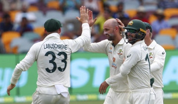 Nathan Lyon starred with bat and ball on Saturday.