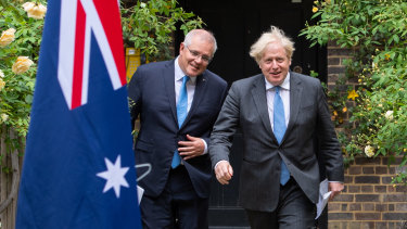 Scott Morrison and Boris Johnson in the garden of 10 Downing Street after striking a trade deal.