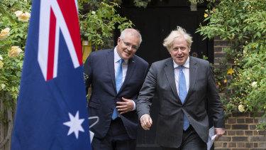 Prime Minister Scott Morrison and British Prime Minister Boris Johnson announced an in-principle deal in June.