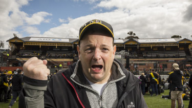 Fan Colin Wilson enjoys the atmosphere at Punt Road after Richmond's AFL grand final win over GWS