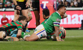Raiders forward Josh Papalii crashes over for the match-winning try at GIO Stadium on Friday night.