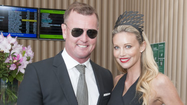 Anthony Bell and Kelly Landry in the Lexus Marquee at Derby Day in 2016.