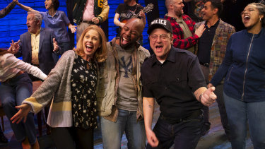 Come From Away cast with Simon Maiden, front right.