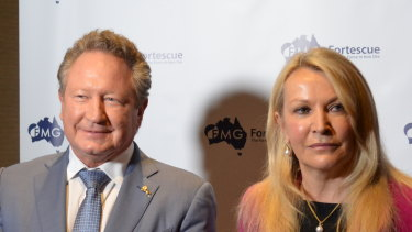 Fortescue Metals Group chairman Andrew Forrest and CEO Elizabeth Gaines at the company's AGM.