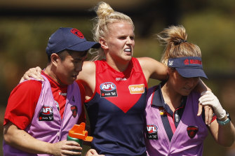Shae Sloane leaves the ground injured during round one of the 2019 AFLW season.
