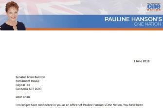 One Nation leader Pauline Hanson has written to Brian Burston, asking him to vacate his Senate seat.
