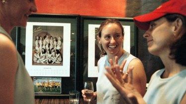 Cheryl Salisbury, Sharon Black and Traci Bartlett at the launch of the Matildas fundraiser calendar taken 20 years ago.