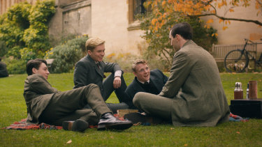 Tolkien and friends: From left, Anthony Boyle, Tom Glynn-Carney, Patrick Gibson and Nicholas Hoult in Tolkien.