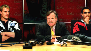 Damian Monkhorst, then-AFL chairman Ross Oakley and Michael Long at a mediation session in 1995.