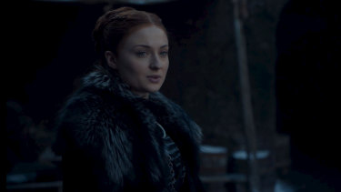 Sophie Turner as Sansa Stark in Game of Thrones' eighth and final season.