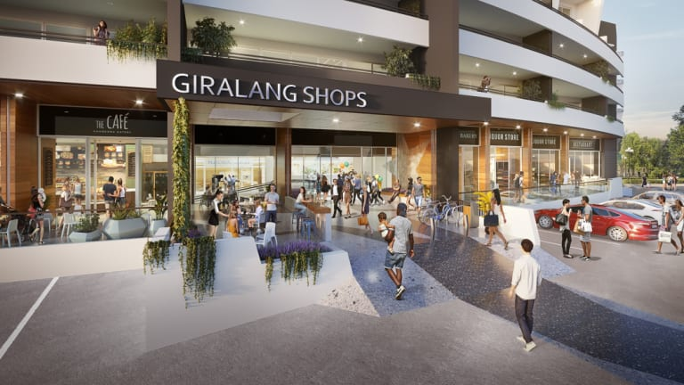 The proposed Giralang shops redevelopment includes a supermarket and other shops on the ground floor, along with three floors of residential apartments.