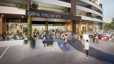 A 3D artist's impression of the Giralang shops redevelopment, which includes a supermarket and 50 residential apartments.
