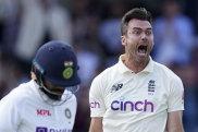 James Anderson celebrates the prized scalp of India skipper Virat Kohli at Headingley.