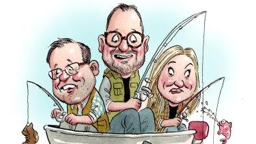 Fishing-friendly MPs Luke Gosling, Andrew Bragg and Rebekhah Sharkie.
