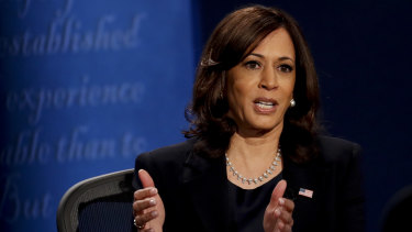 Senator Kamala Harris, Democratic vice presidential nominee, speaks.