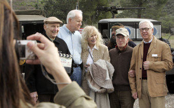 """From left: Charles Dubin, director of the most episodes, Mike Farrell who played Cpt. BJ Hunnicut, Loretta Swit who played Major Margaret """"Hotlips"""" Houlihan, Gene Reynolds, one of the directors and Bill Christopher who played Father Mulcahay, before heading up to the location where MASH was shot at Malibu Creek State Park."""