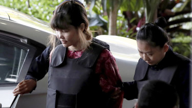 The trial of Vietnamese Doan Thi Huong, left, is on hold following the withdrawal of charges against her co-accused Siti Aisyah.