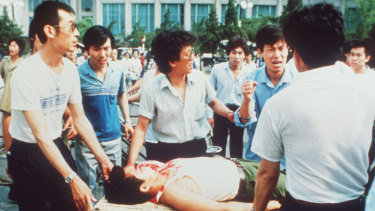 Injured protester in Tiananmen Square in 1989.