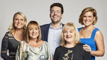 Joe Hildebrand in 2018 with then Studio 10 co-hosts Angela Bishop, Denise Drysdale, Denise Scott and Sarah Harris.