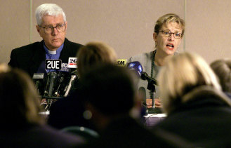 Reverend Harry Herbert with medical director Ingrid Van Beek in 2001 answering questions after the opening of Australia's first legal heroin injecting room.