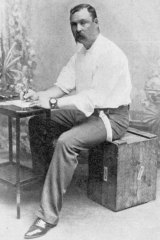 Hales at a makeshift desk, from his book <i>Campaign Pictures of the War in South Africa 1899-1900</i>.