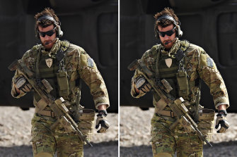 The original photo (left) of Ben Roberts-Smith displaying a Crusader's cross on his uniform while on duty in Afghanistan. The evidence was later edited out (right) in the official photo released by Defence.