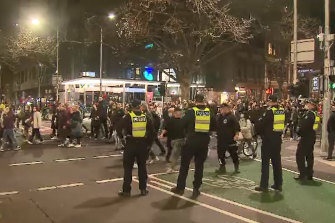 Hundreds of people protested lockdown in the CBD on Thursday evening.
