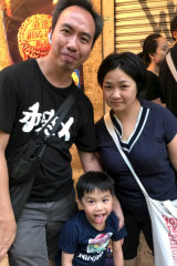 Maggie Leung, right, with her son Bosco, 5, and er husband Victor Yeung. They marched two Sundays in a row against the Hong Kong extradition law.