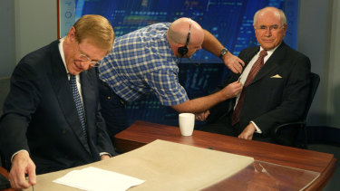 John Howard with Kerry O'Brien ahead of an appearance on ABC's <i>The 7.30 Report</i> in 2007.