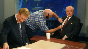 John Howard with Kerry O'Brien ahead of an appearance on ABC's 7.30 in 2007.