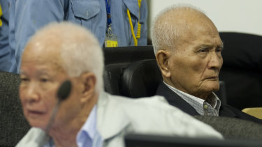 Khieu Samphan, left, and  Nuon Chea at their trial in 2013.