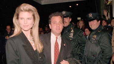Billy Joel and Christie Brinkley at New York's Waldorf Astoria Hotel for the induction ceremonies to the Rock and Roll Hall of Fame in January 1988.