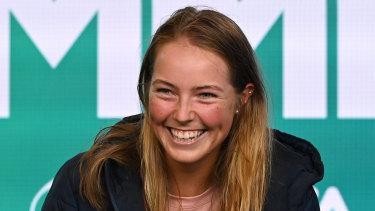Olivia Gadecki was all smiles following her win over Sofia Kenin on Sunday.