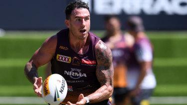 Brisbane Broncos captain Darius Boyd at training in Brisbane on Tuesday.